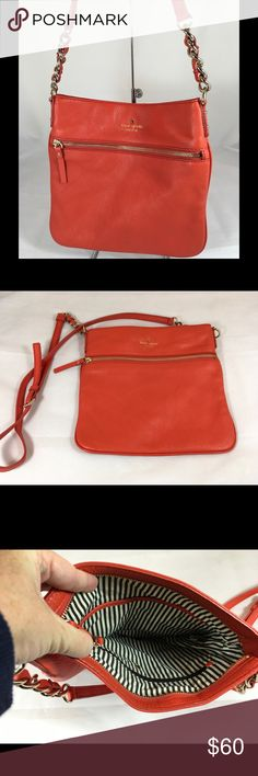 """Kate Spade Red Leather Crossbody Bag/Purse 10.75""""L X 10""""H X .5""""D, Adjustable Strap. Front Zip Compartment, Top Zip Closure. Interior 1Zip and 2 Slip Pockets. 14K Gold Plated Hardware. In Excellent Condition! kate spade Bags Crossbody Bags"""