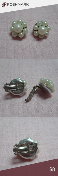 Vintage Silver clip on Pearl  Earrings Vintage Silver clip on Pearl  Earrings Weiss Jewelry Earrings
