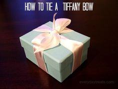 I once decided that I needed to learn how to tie a a Tiffany bow. This might seem like a frivolous quest but I figured, why not learn to do it the right way? So I walked into Tiffany's and asked for help. Now I'll save you the trip and teach you how to do it. It's really easy once you know
