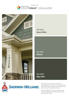 Trendy exterior paint colora for house green olive white trim Ideas Trendy exterior paint colora for house green olive white trim Ideas Exterior Paint Schemes, Exterior Paint Colors For House, Paint Colors For Home, Green Exterior Paints, Exterior Paint Color Combinations, Exterior Color Palette, Best Exterior Paint, Siding Colors, Craftsman Exterior Colors