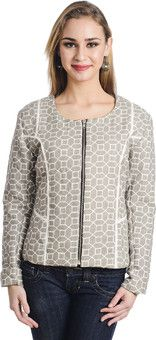 Trend Arrest Full Sleeve Geometric Print Women's Jacket: Jacket