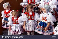 Moravian folk costume in feast Dubnany Czech Republic Stock Photo