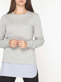 **Tall Grey Stripe 2-in-1 Sweat Top - View all Tall Clothing - Shop By Fit - Dorothy Perkins
