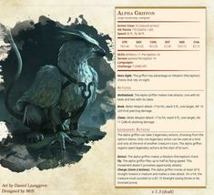 Hand of Restoration Griffin Stats Card Dnd Dragons, Dungeons And Dragons 5e, Dungeons And Dragons Characters, Dungeons And Dragons Homebrew, Dnd Characters, Fantasy Characters, Mythical Creatures Art, Mythological Creatures, Magical Creatures