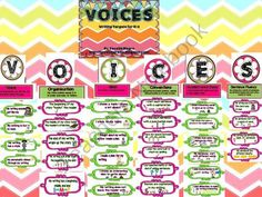 Here is a perfect way to track what you've taught in Writer's Workshop-VOICES. Each letter represents one of the six traits of writing. Each target includes a picture to help students remember what each target is. Kindergarten Writing, Teaching Writing, Literacy, Teaching Ideas, 6 Traits Of Writing, Voices Writing, Second Grade Writing, Teaching First Grade, Spelling And Grammar