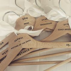 Four Personalised Wedding Dress Wooden Hanger With White Ribbon - Bridesmaid Gifts Mother of the Bride Maid of Honour autumn winter