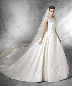 Laudin, vestido de novia estilo princesa de raso