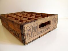 Seven Up Crate Wood 7-Up Soda Crate Storage by RollingHillsVintage