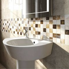 Firenze Emperador Polished Marble Mosaic Tile 30.5cm x 30.5cm Tiled Bath Panel, Marble Mosaic, Mosaic Tiles, Small Tiles, Ceramic Wall Tiles, Family Bathroom, Plumbing, Sink, Victoria