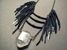 Large Crystal Necklace / Tibetan Quartz Necklace / by Chrysalism