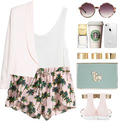 """Palm trees on my shorts"" by endimanche on Polyvore"