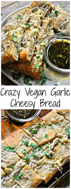 Crazy Vegan Garlic Cheesy Bread is part of Crazy Vegan Garlic Cheesy Bread Rabbit And Wolves - Super garlicky white cheese sauce tops pizza dough, then layered with garlic and herbs, and vegan mozzarella Folded over, then topped with more cheese Healthy Vegan Snacks, Vegetarian Recipes, Vegan Apps, Vegan Food, Vegan Meals, Aperitivos Vegan, Vegan Bread, Vegan Garlic Bread, Fig Bread