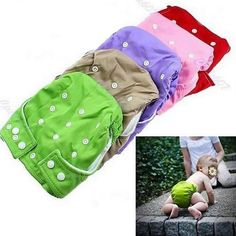 New Unisex Adjustable Baby Infant 1 Nappy Diaper Reusable Washable Cloth 9 Colors 1 insert -PY-PY