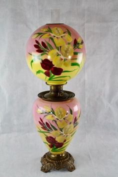 Antique Victorian art glass hand painted jumbo parlor table lamp. Circa 1880's to 1910. Beautiful hand painted iris flowers. In very good antique condition. No chips, cracks or repairs seen on glass. | eBay!