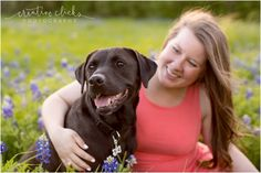 Senior Pictures with Dog | Houston, TX Photographer | Creative Clicks Photographer | Bluebonnets with Dog