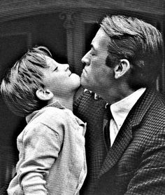 Gregory Peck on the set of To Kill A Mockingbird with his son