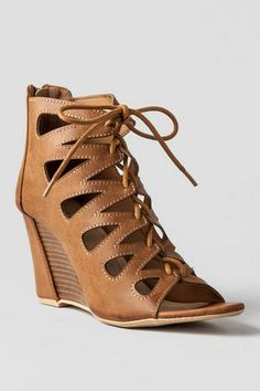 Stana Cutout Wedge | Any wedge like this is essential for one's wardrobe. The gladiator style mixed with a wedge gives an outfit the perfect edge ~ these shoes would look AWESOME with many of Francesca's maxi dresses!! Love them!!
