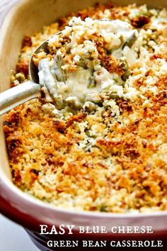 This Easy Green Bean Casserole with Blue Cheese recipe is creamy and ...