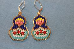 Here are a pair of Blue Matryoshka Doll earrings I made.