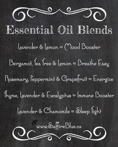 Essential Oil Blends for depression, energy, immune system boost, insomnia. Lavender. Lemon. Peppermint. Grapefruit. Bergamot. Tea Tree. Eucalyptus.