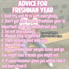 darkskinqueens_only Her advice will probably help me during my freshman year coming up High School Hacks, High School Life, Life Hacks For School, School Study Tips, School Tips, School Stuff, School Ideas, Middle School, Highschool Freshman