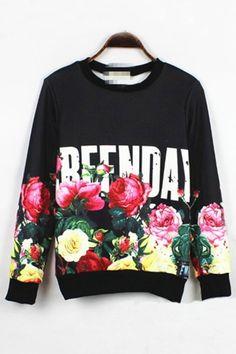 Flower Print Fleece Sweatshirt OASAP.com