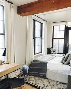 Bedroom: black + white+ wood