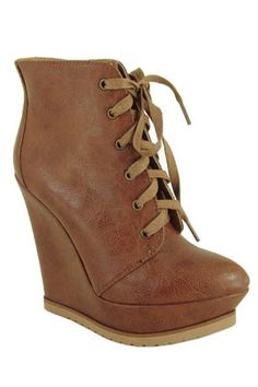 Lace Up Wedge Bootie In Cognac
