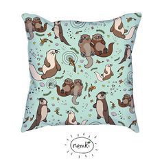 Sea Otters lllustrated throw pillow or cushion for indoor use. Printed front and back. 18 x 18 inches.    Please choose if youd like me to include the
