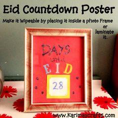 Eid countdown poster wipeable from 30 Days of Ramadan Crafts - muslim ramadan Crafts Islamic Karimas Crafts