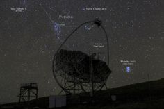 Astrophotographer Miguel Claro sent Space.com this annotated image of the MAGIC I telescope pictured in the foreground, with the Perseus constellation and open star cluster, the Pleiades, dazzling in the night sky over the Roque de los Muchachos Observatory on La Palma, Canary Islands. The image was taken Sept. 30, 2013 and sent to Space.com March 19, 2014.