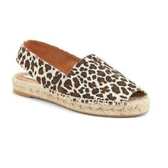 Women's Stella McCartney 'Rocio' Slingback Espadrille (21.315 RUB) ❤ liked on Polyvore featuring shoes, sandals, peep toe espadrilles, slingback peep toe sandals, leopard print sandals, peep-toe shoes and peep toe shoes