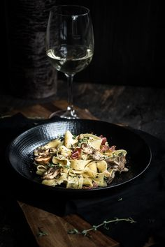 Pasta with Mushrooms and Prosciutto — Up Close & Tasty