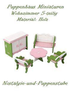 Puppenhaus Zubehör Möbel Miniaturen Holz Wohnzimmer 5 Tlg. 8126