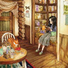 illustr.quenalbertini: Reading Time by Aeppol | Pinzellades al mon bibliocolors.blogspot.cl/2016/11/temps-de-llegir-tiempo-de-leer-time-to.html