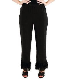 Love this Black Ruffle Palazzo Pants by Lily on #zulily! #zulilyfinds