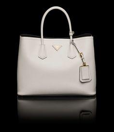 PRADA double bag - chalk white