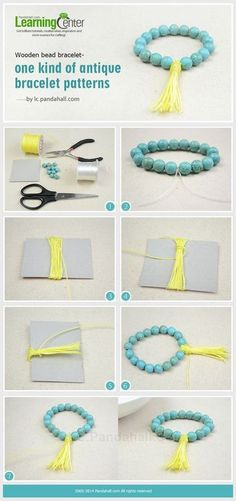 How to Make a Buddhist Prayer Beads Bracelet with Turquoise and Nylon Thread