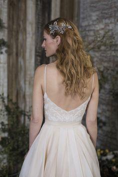 Silk Organza wedding dress with beaded detail and lace applique, by Sienna Von Hildemar. Silk Organza, Bespoke Design, Lace Applique, Service Design, Detail, Wedding Dresses, Unique, Collection, Fashion