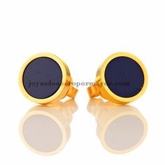 stainless steel round design earrings stud with deep blue mainstone in gold color for women-SSEGG833020