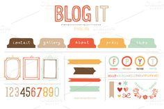 Blog It (Vector) ~~ Awesome additions for really great and quirky blogs! Delivered as an Illustrator CS3 .eps file.