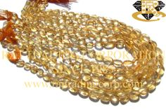 Citrine Smooth Oval (Quality A) Shape: Oval Smooth Length: 36 cm Weight Approx: 13 to 15 Grms. Size Approx: 5.5x7 to 7.5x11 mm Price $5.10 Each Strand