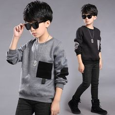 Teenage Little Boys Fleece Cotton 2017 Winter T-Shirts For Kids Warm Long Sleeve Tops Clothes Children Hoodies 8 10 12 14 Years Girls Fall Fashion, Latest Fashion For Girls, Boy Fashion, Fashion Clothes, Outfits Niños, Baby Boy Outfits, Kids Outfits, Winter T Shirts, Camisa Polo