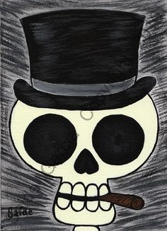 Day of the Dead Catrin Skull Original Print 5x7 by saide on Etsy, $5.00