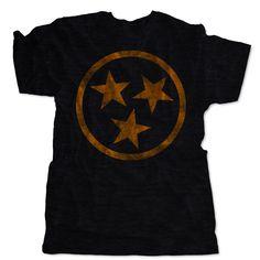 Tennessee Tri Star Distressed Flag T-Shirt | Retro UT Tennessee Vintage | One 10 Threads