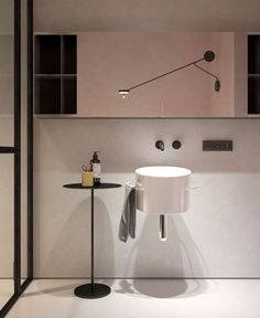 is a two-rooms flat with a size of 76 m² in Moscow. Its beautiful, modern and clean Interior Design is made by KDVA Architects. Black Bathroom Taps, Modern White Bathroom, Minimalist Bathroom, Minimalist Kitchen, Modern Bathroom Design, Minimalist Decor, Beautiful Bathrooms, Bathroom Interior Design, Master Bathroom