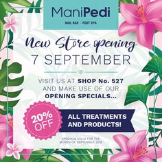 Our new #ManiPedi #CanalWalk store is now open :) We are running an opening special for the entire month of September where all treatments and products are less 20%.    We also still have some unique once-off #DermaFix hampers to give away!