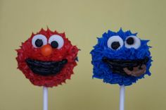 Cookie Monster and Elmo Cake Pops
