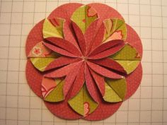 Photo tutorial: Dahlia Fold Flower ... spectacular results ... two sided scrapbook papers are great for the card embellishment ....