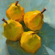 Carol Marine's Painting a Day: Four Pear 2 - I like the looseness and bold strokes of this one.